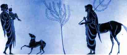 Αποτέλεσμα εικόνας για Κένταυρος Χείρων διδάσκει τοξοβολία στον Αχιλλέα)